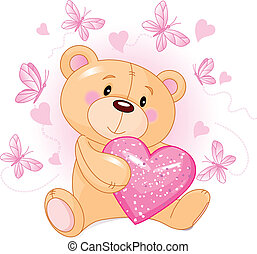 Teddy Bear with love heart - Cute Teddy Bear sitting with...
