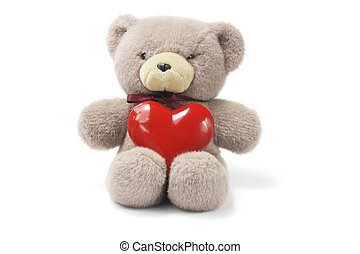Teddy Bear with Love Heart on White Background