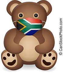 Teddy bear with medical mask South Africa flag