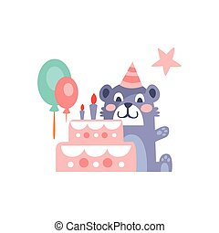 Teddy Bear With Party Attributes Girly Stylized Funky Sticker
