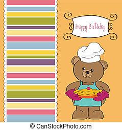 teddy bear with pie. birthday greet
