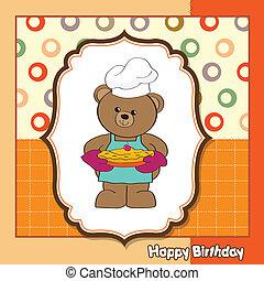 teddy bear with pie