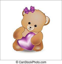 Teddy bear with pink heart
