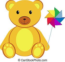 Teddy bear with pinwheel - Teddy bear holding a pinwheel....