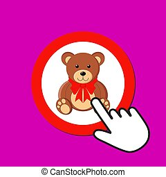 Teddy bear with red bow icon. Cute gift concept. Hand Mouse Cursor Clicks the Button.