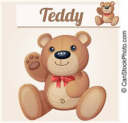 Teddy bear with red bow waves the paw