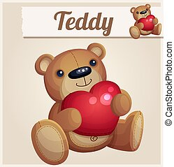 Teddy bear with red heart.