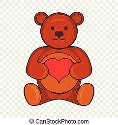 Teddy bear with red heart icon, cartoon style