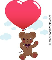 Teddy bear with red heart shaped balloon