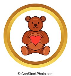 Teddy bear with red heart vector icon