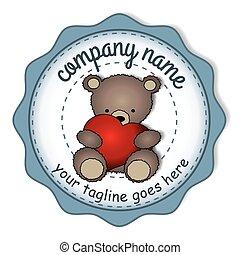 Teddy bear with the big heart -circular label - Teddy bear ...
