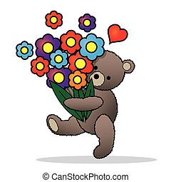 Teddy bear with the bunch of flowers