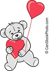 Teddy bear with two hearts