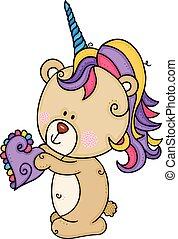 Teddy bear with unicorn horn holding a small heart