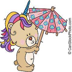 Teddy bear with unicorn horn holding a small umbrella