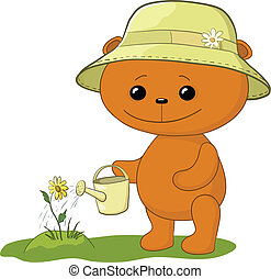 Teddy bear with watering can