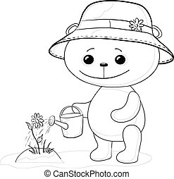 Teddy bear with watering can, contour
