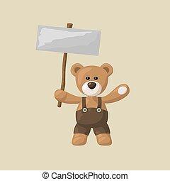 Teddy Bear with White Signboard - Teddy bear with black ...