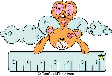 Teddy bear with wings flying holding a blue little ruler