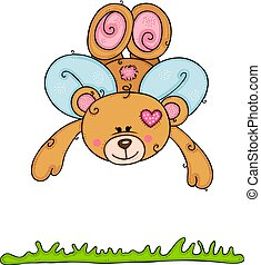Teddy bear with wings flying