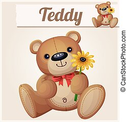 Teddy bear with yellow flower. Cartoon vector illustration. Series of childrens toys