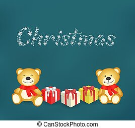 Teddy bears and gift in a blue background