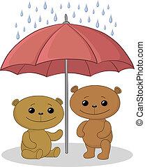 Teddy bears and umbrella