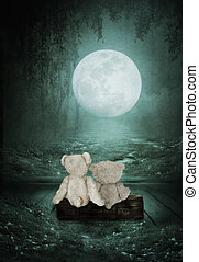 Teddy Bears are sitting on the old suitcase in the room and look at the forest under the light of the moon