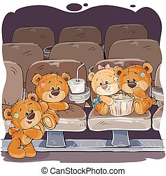 Teddy bears are watching a movie - Vector illustrations of...
