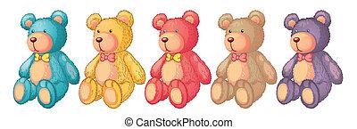 teddy bears - illustration of teddy bears on a white...