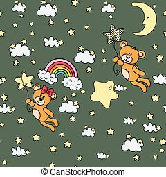 Teddy bears flying in sky seamless background