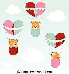 Teddy bears flying