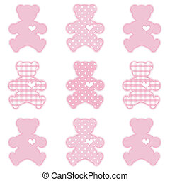 Teddy Bears with big hearts in pastel pink gingham and polka dots for scrapbooks, albums, baby books. EPS8 compatible.