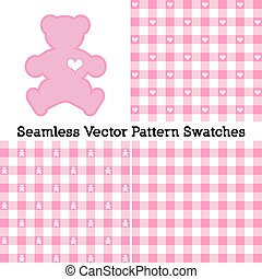 Teddy Bears, Gingham Seamless Patterns, Pastel Pink