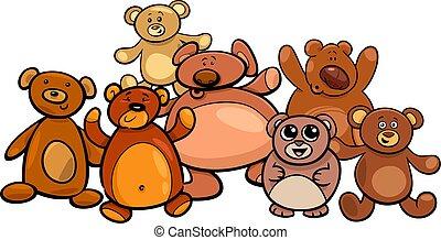 teddy bears group cartoon illustration