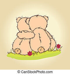 teddy bears hug - Hand drawn illustration of loving couple ...
