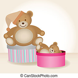 teddy bears in boxes