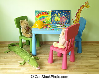 Teddy bears in children's room