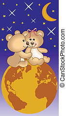 Teddy bears in love the universe