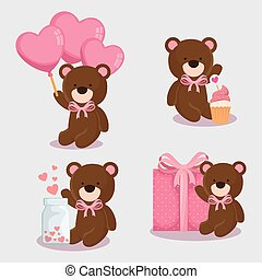 teddy bears of cute icons for valentines day