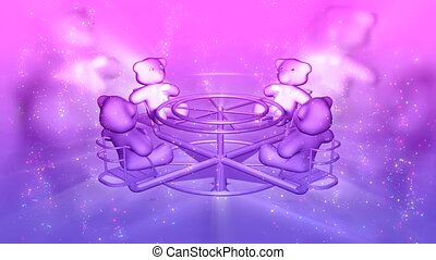 Teddy bears on merry-go-round