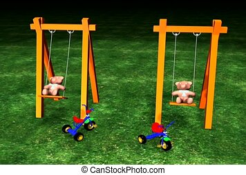 Teddy Bears On Swings