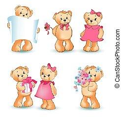 Teddy Bears Set Valentine Vector Illustration