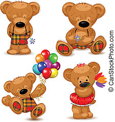 Teddy bears, set. Vector illustrati