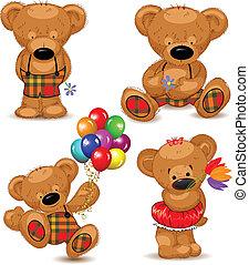 Teddy bears, set. Vector illustrati