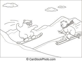Teddy bears ski in mountains, contours