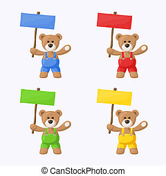 Teddy Bears with Colored Signboards - Small package with ...