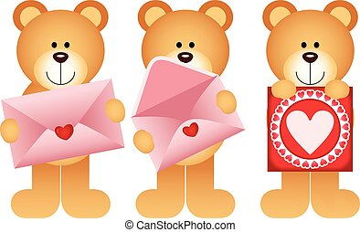 Teddy bears with envelope and heart postcard