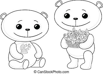 Teddy bears with flowers, contours