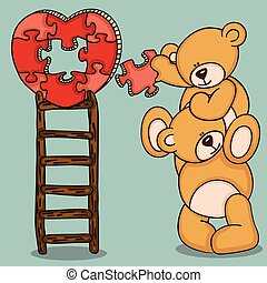 Teddy bears with heart shaped puzzle on top ladder